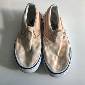 Vans Peach and White Check Classic Slip On | 5